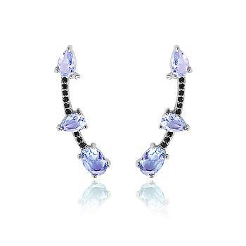 Brinco Ear Cuff Folheado Ródio Negro com Cristal Gota e Oval Violet e Micro Zircônia Negra