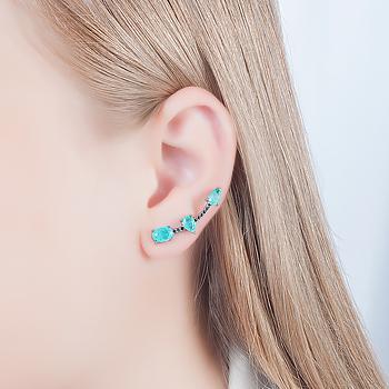 Brinco Ear Cuff Folheado Ródio Negro com Pedra Fusion Premium Turmalina Verde e Micro Zircônia Negra