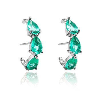 Brinco Ear Hook Folheado Ródio Negro com Gotas Cristal Turmalina Verde