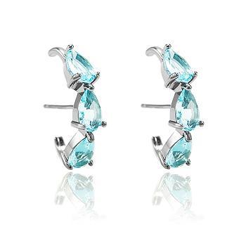Brinco Ear Hook Folheado Ródio Negro com Gotas Cristal Aquamarine