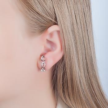 Brinco Ear Hook Folheado Ródio Negro com Gotas Cristal Morganita