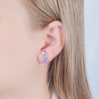 Brinco Ear Hook Folheado Ródio com Gotas Cristal Violet
