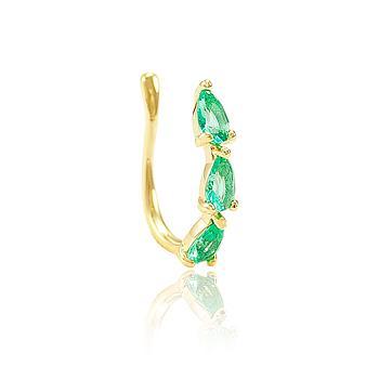 Piercing Fake Folheado Ouro 18K com Cristal Gota Turmalina Verde