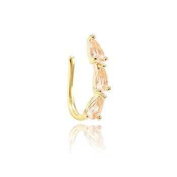 Piercing Fake Folheado Ouro 18K com Cristal Gota Morganita