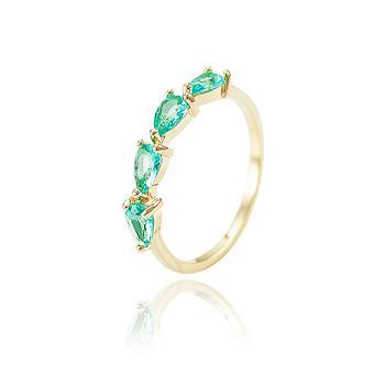 Anel Gotas Folheado Ouro 18K com Cristal Turmalina Verde