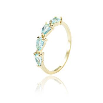 Anel Gotas Folheado Ouro 18K com Cristal Aquamarine