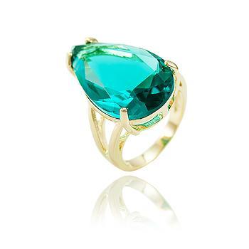Anel Folheado Ouro 18K com Gota Cristal Turmalina Verde
