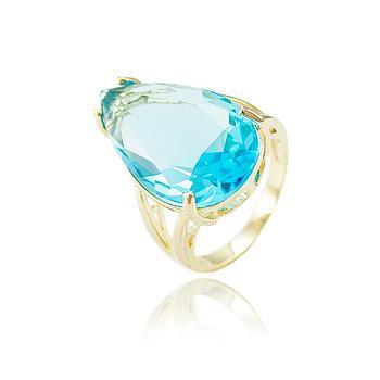 Anel Folheado Ouro 18K com Gota Cristal Aquamarine