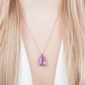 Colar Folheado Ródio Negro com Cristal Gota Violet