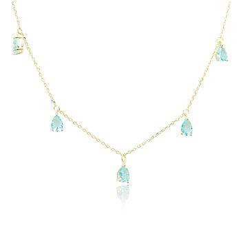 Colar Choker Folheado Ouro 18K Gotas com Cristal Aquamarine