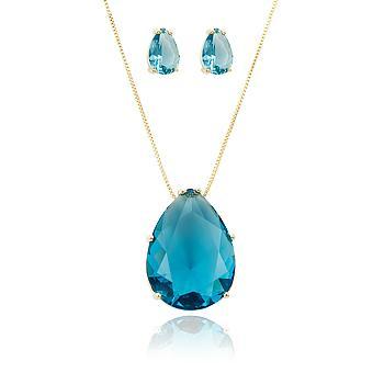 Conjunto Gota Folheado Ouro 18K com Cristal Aquamarine