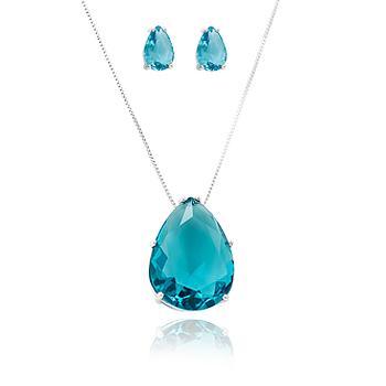 Conjunto Gota Folheado Ródio com Cristal Aquamarine