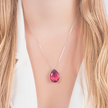 Conjunto Gota Folheado Ródio com Cristal Bicolor Fúcsia e Rosa