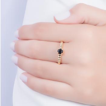 Anel Folheado Ouro 18K com Cristal Negro Redondo