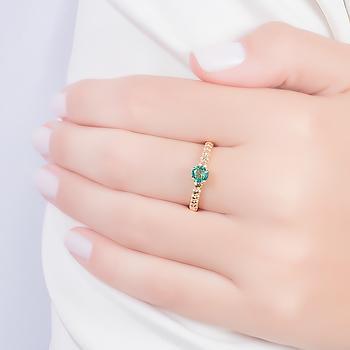 Anel Folheado Ouro 18K com Cristal Redondo Turmalina Verde