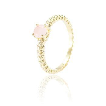 Anel Folheado Ouro 18K com Cristal Redondo Rosa Leitoso