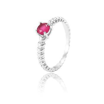 Anel Folheado Ródio com Cristal Redondo Pink Leitoso