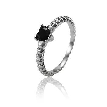 Anel Folheado Ródio Negro com Coração Cristal Negro