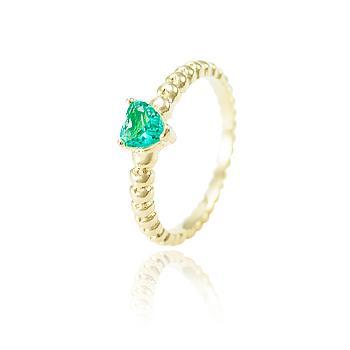 Anel Folheado Ouro 18K com Cristal Coração Turmalina Verde