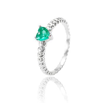 Anel Folheado Ródio com Cristal Coração Turmalina Verde