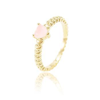 Anel Folheado Ouro 18K com Cristal Coração Rosa Leitoso