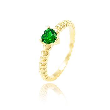 Anel Folheado Ouro 18K com Coração Cristal Esmeralda