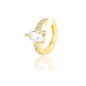 Piercing Fake Folheado Ouro 18K com Cristal Gota e Micro Zircônia Cristal
