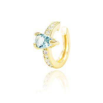 Piercing Fake Folheado Ouro 18K com Cristal Gota Aquamarine e Micro Zircônia Cristal