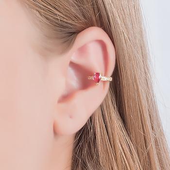 Piercing Fake Folheado Ouro 18K com Cristal Gota Pink e Micro Zircônia Cristal