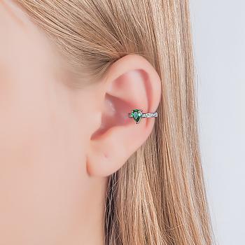 Piercing Fake Folheado Ródio Negro com Cristal Gota Esmeralda e Micro Zircônia Cristal
