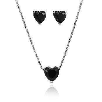 Conjunto Coração Folheado Ródio Negro com Cristal Negro