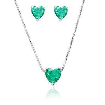 Conjunto Coração Folheado Ródio com Cristal Turmalina Verde