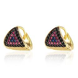 Brinco Argola Triangular Folheado Ouro 18K com Zircônias Coloridas