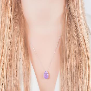 Colar Folheado Ródio Gota com Pedra Fusion Premium Ultra Violet