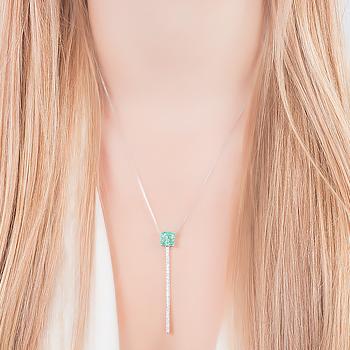 Conjunto Quadrado Folheado Ródio com Pedra Fusion Turmalina Verde e Bastão de Micro Zircônia Cristal