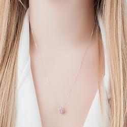 Conjunto Oval Folheado Ródio com Pedra Fusion Premium Rosa e Micro Zircônia Cristal