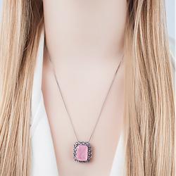 Colar Retangular Folheado Ródio Negro com Pedra Fusion Premium Rosa e Navete Ametista