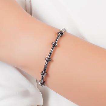 Bracelete Folheado Ródio Negro Inspired Cartier