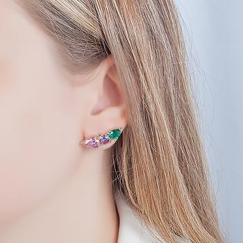 Brinco Ear Cuff Gotas Folheado Ouro 18K com Cristais Coloridos
