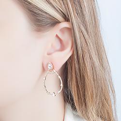 Brinco Ear Jacket Folheado Ouro 18K com Micro Zircônia e Gota Zircônia Cristal