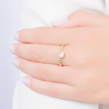 Anel Gota Folheado Ouro 18K com Cristal