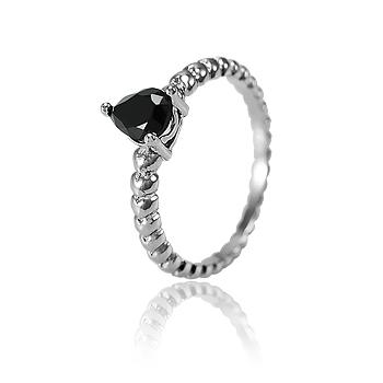 Anel Gota Folheado Ródio Negro com Cristal Negro