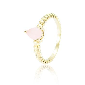 Anel Gota Folheado Ouro 18K com Cristal Rosa Leitoso
