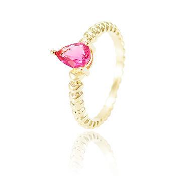 Anel Gota Folheado Ouro 18K com Cristal Pink