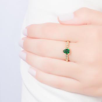 Anel Gota Folheado Ouro 18K com Cristal Esmeralda