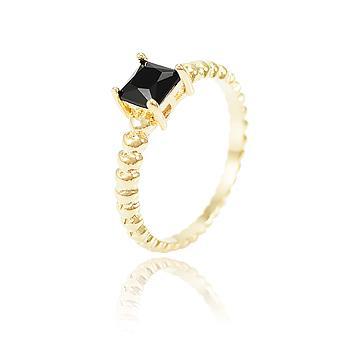 Anel Folheado Ouro 18K com Cristal Negro Quadrado