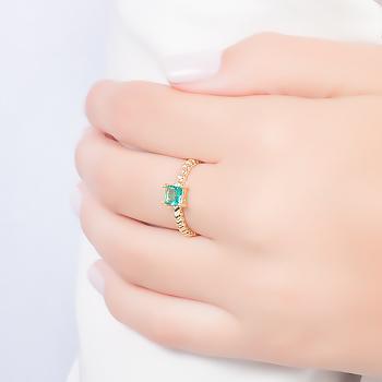 Anel Folheado Ouro 18K com Cristal Turmalina Verde Quadrado