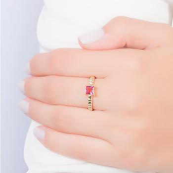 Anel Folheado Ouro 18K com Cristal Quadrado Pink