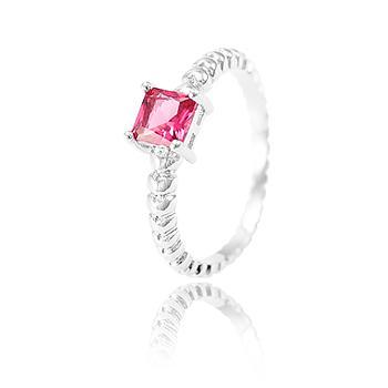 Anel Folheado Ródio com Cristal Pink Quadrado