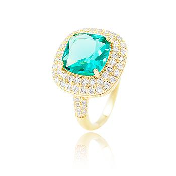 Anel Folheado Ouro 18K com Micro Zircônia Cristal e Cristal Quadrado Turmalina Verde